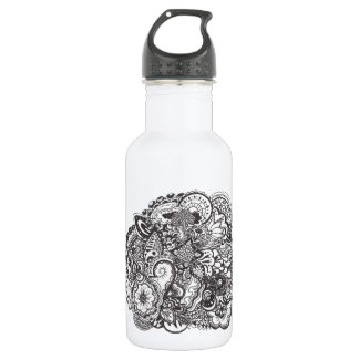Abstract pen and ink doodle 532 ml water bottle