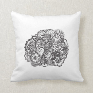 Abstract pen and ink doodle throw pillow