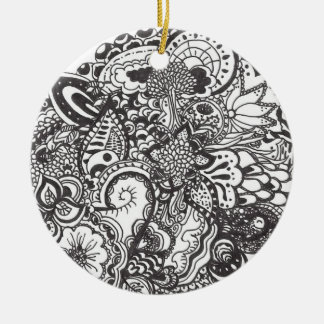 Abstract pen and ink doodle round ceramic decoration