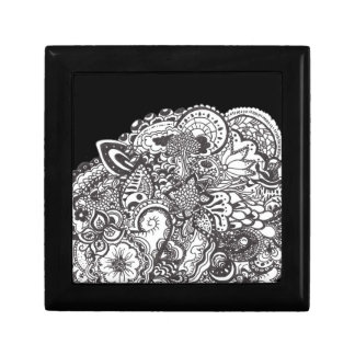 Abstract pen and ink doodle small square gift box