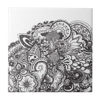 Abstract pen and ink doodle small square tile