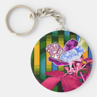 Abstract Perspective Basic Round Button Key Ring