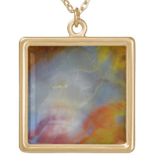 Abstract Petrified Wood close-up Gold Plated Necklace