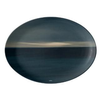abstract photograph blue porcelain serving platter