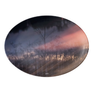 abstract photograph sunset porcelain serving platter