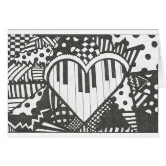 Abstract Piano Heart Card