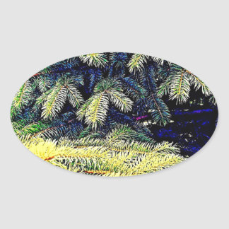 Abstract Pines Oval Stickers