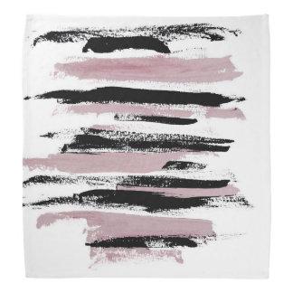 Abstract Pink and Black Strokes Bandana