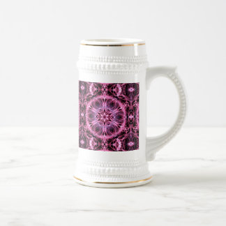 Abstract Pink and Blue Fractal 18 Oz Beer Stein