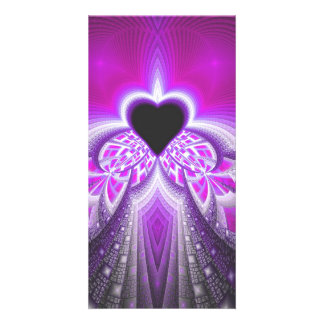 Abstract Pink and Purple Fractal Pattern Photo Greeting Card