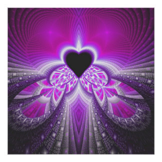 Abstract Pink And Purple Fractal Pattern Posters