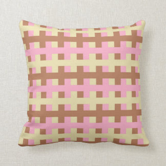 Abstract Pink, Beige and Brown Cushion