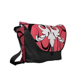 Abstract Pink, Black and White Messenger Bag