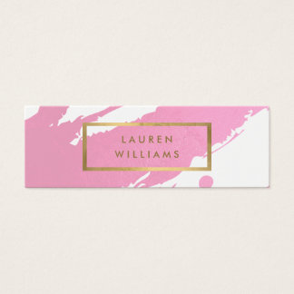 Abstract Pink Brushstrokes Mini Business Card