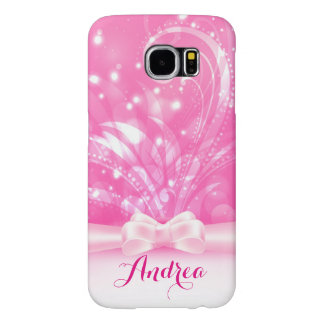 Abstract Pink Floral Bling Samsung Galaxy S6 Cases