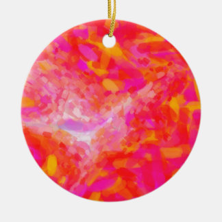 Abstract Pink Nebulla with Galactic Cosmic Cloud 3 Round Ceramic Decoration