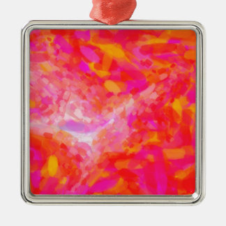 Abstract Pink Nebulla with Galactic Cosmic Cloud 3 Silver-Colored Square Decoration