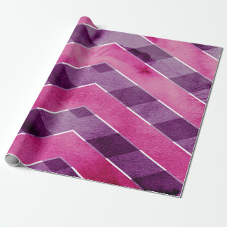 Abstract Pink Purple Watercolor Chevron Zigzag Wrapping Paper
