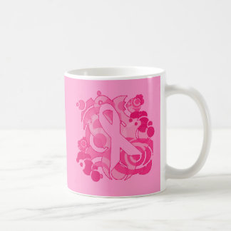 Abstract Pink Ribbon Products Basic White Mug