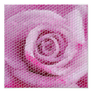Abstract Pink Rose Floral Mosaic Poster