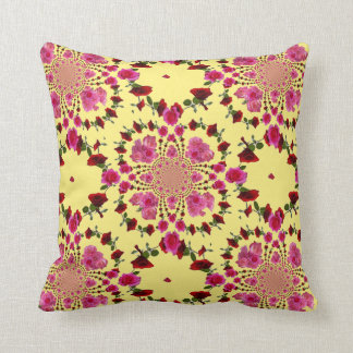 abstract pink rose yellow garden art cushion