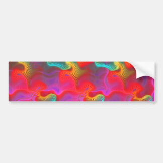Abstract Pink Teal Red Fractal Pattern Bumper Sticker
