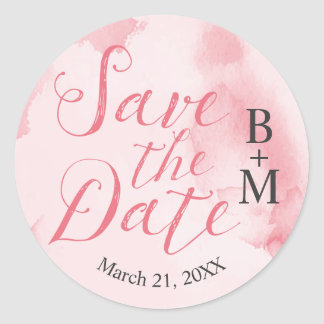 Abstract Pink Watercolor | Save the Date Sticker