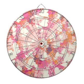 Abstract Pink White Watercolors Hearts Pattern Dart Board