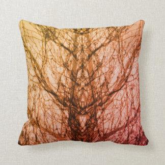 Abstract pink yellow tree vein modern art pillow