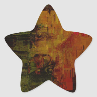 Abstract Pixelated Star Stickers