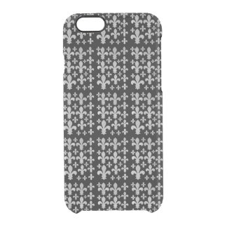 Abstract Plaid Gray Watercolor Fleur de Lis Light Clear iPhone 6/6S Case