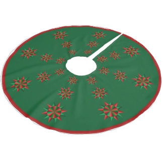 Abstract Poinsettia Christmas Tree Skirt Brushed Polyester Tree Skirt