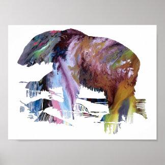 Abstract polar bear silhouette poster