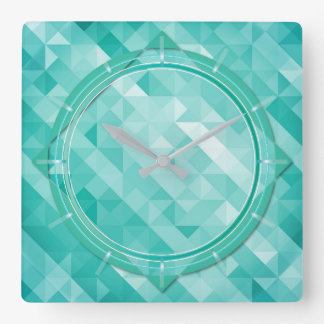 Abstract polygonal turquoise background wall clock