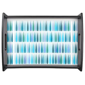 Abstract Pop art blue drops Serving Tray