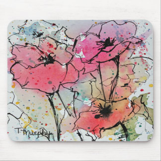 Abstract Poppies in Pink Mousepad