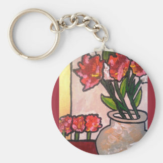 ABSTRACT POPPIES KEYCHAINS