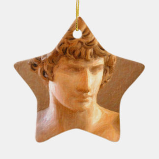 abstract portrait of a young man ceramic ornament