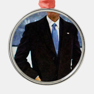 Abstract Portrait of President Barack Obama 10 Silver-Colored Round Decoration