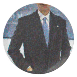 Abstract Portrait of President Barack Obama 10a.jp Plate