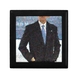 Abstract Portrait of President Barack Obama 10a.jp Small Square Gift Box