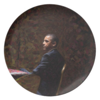 Abstract Portrait of President Barack Obama 13 Plate