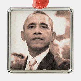 Abstract Portrait of President Barack Obama 30x30 Metal Ornament