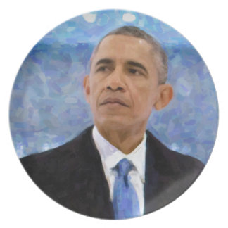 Abstract Portrait of President Barack Obama 30x30 Plate