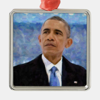 Abstract Portrait of President Barack Obama 30x30 Silver-Colored Square Decoration