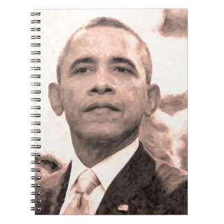Abstract Portrait of President Barack Obama 30x30 Spiral Notebook