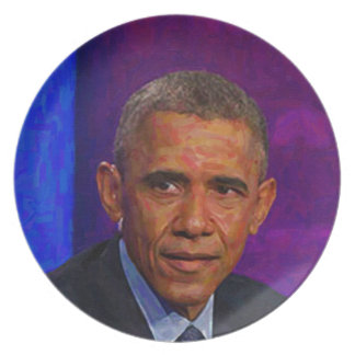 Abstract Portrait of President Barack Obama 7 Plate