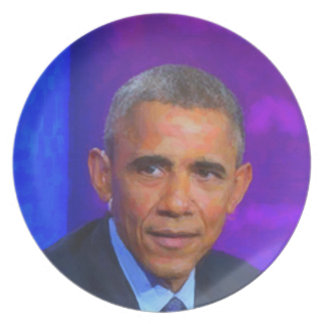 Abstract Portrait of President Barack Obama 8 a.jp Plate