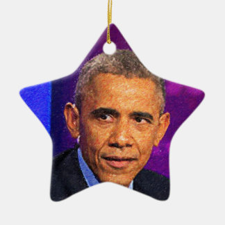 Abstract Portrait of President Barack Obama 8 Ceramic Ornament
