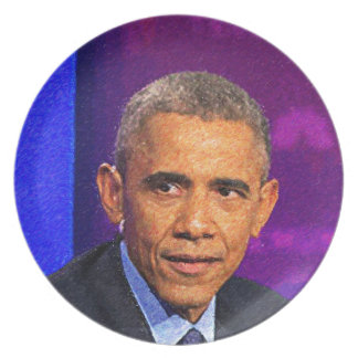 Abstract Portrait of President Barack Obama 8 Plate